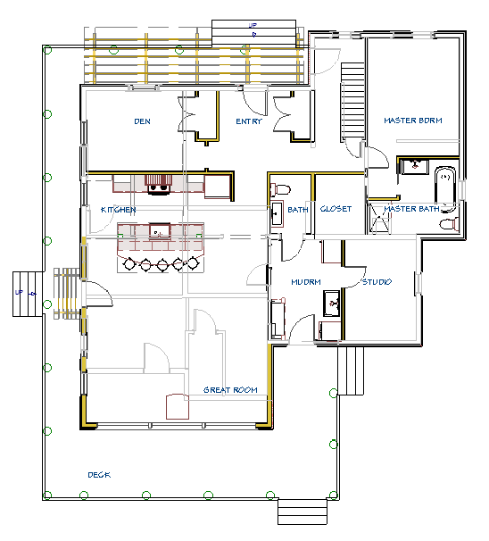 Here is an example of an open concept renovation done by TLC. The light grey lines show the original layout and the solid lines show the new open concept layout. Notice the entrance, the barriers to the stairs and the additional living space (Den) upfront. What does your layout look like?