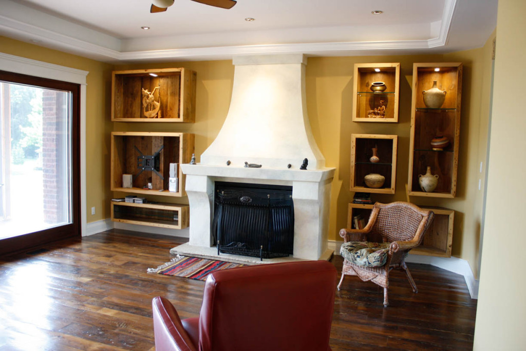 custom fireplace and display wall