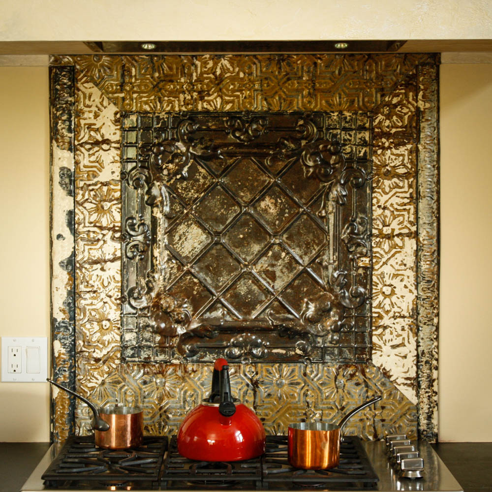 custom stove-top tin backsplash