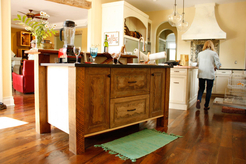 custom kitchen island with re-purposed antique doors